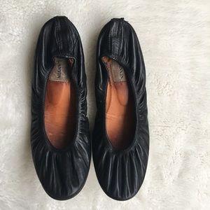 Lanvin Black Leather Ballerina Flats Size 39 1/2